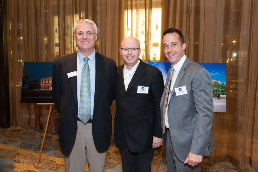 A.W. Hastings Executive Vice President and COO Keenan Burns, Architect Stephen Baker of Baker Design Group, and Clarke General Manager Sean Clarke.