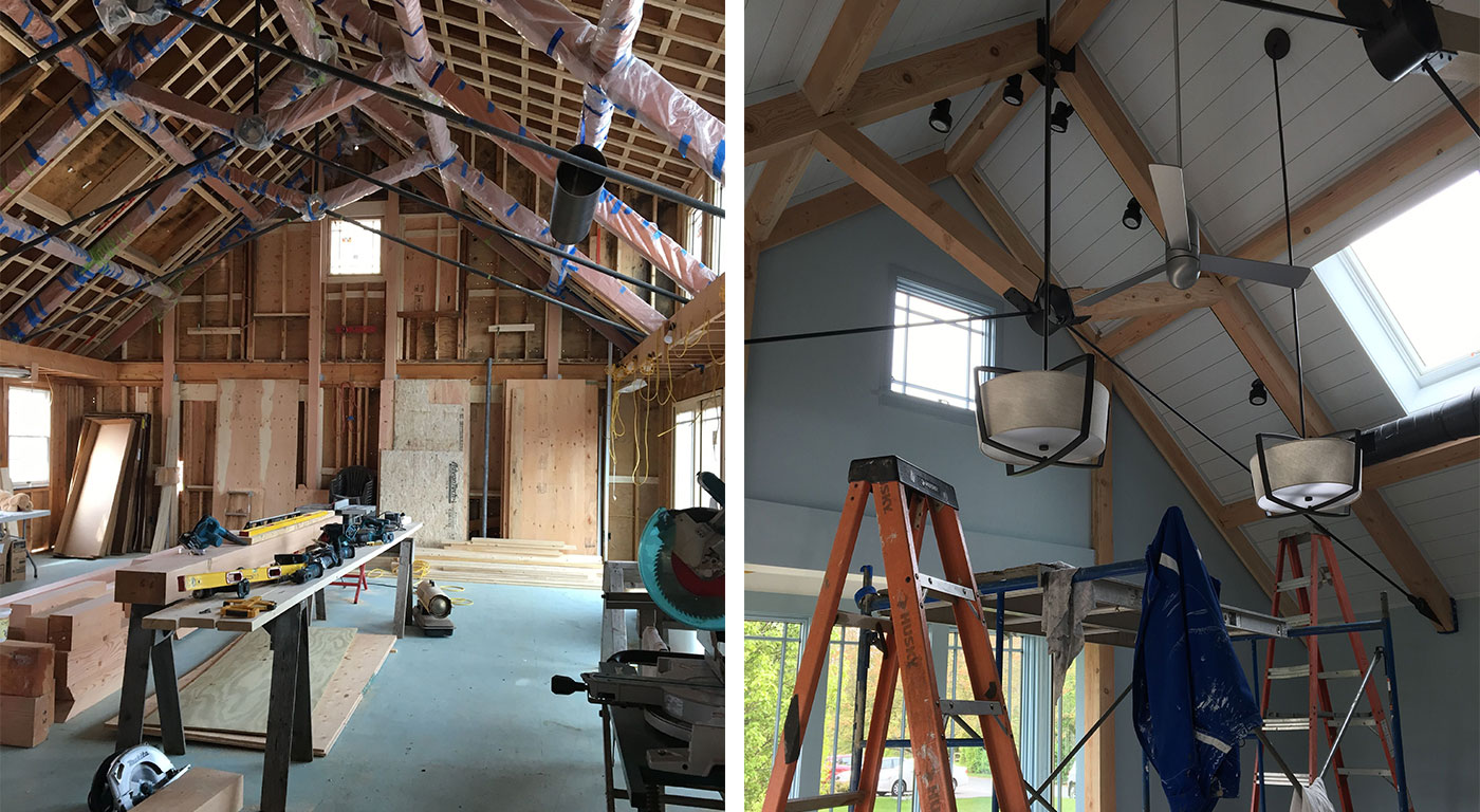 Construction on the renovation of a Cape Cod rehearsal building by Architectural Design, Inc. and AD Design Build