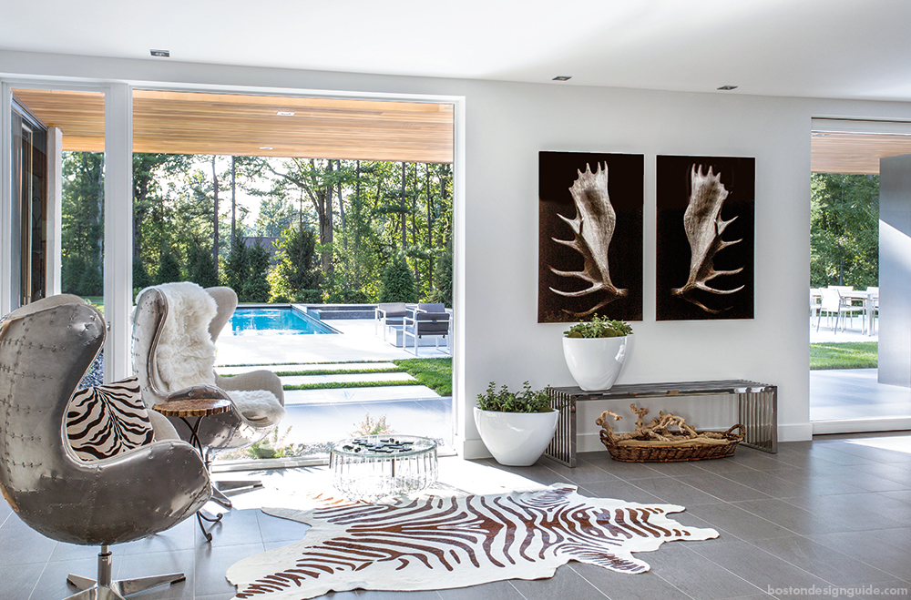Zebra print cowhide rug, contemporary furnishings