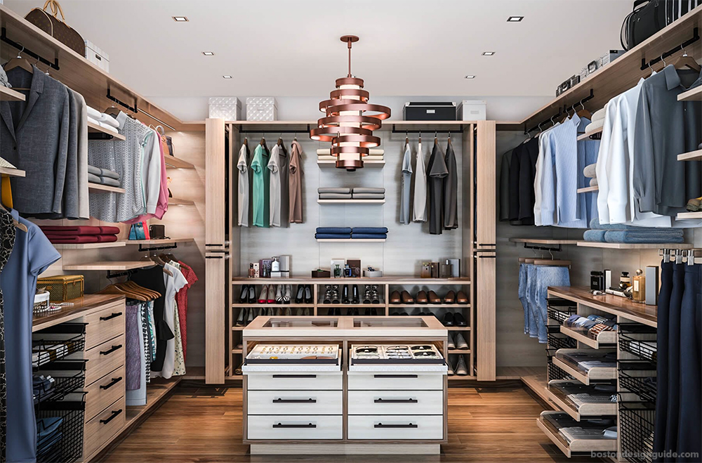 His and hers walk-in custom closet