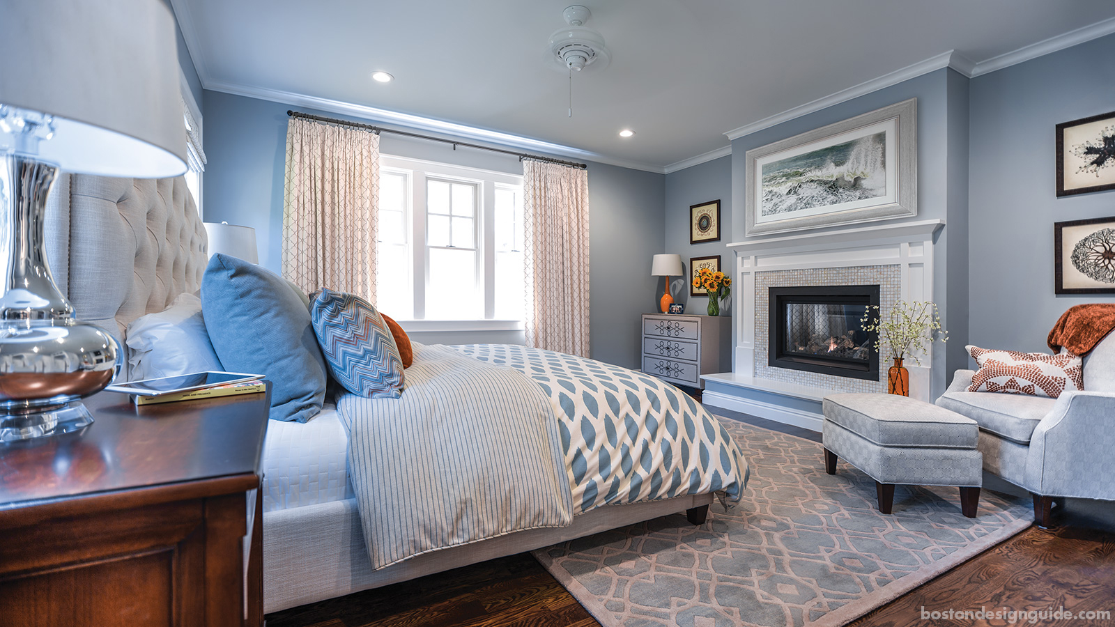 Master bedroom suite with patterns and mosaic tile fireplace