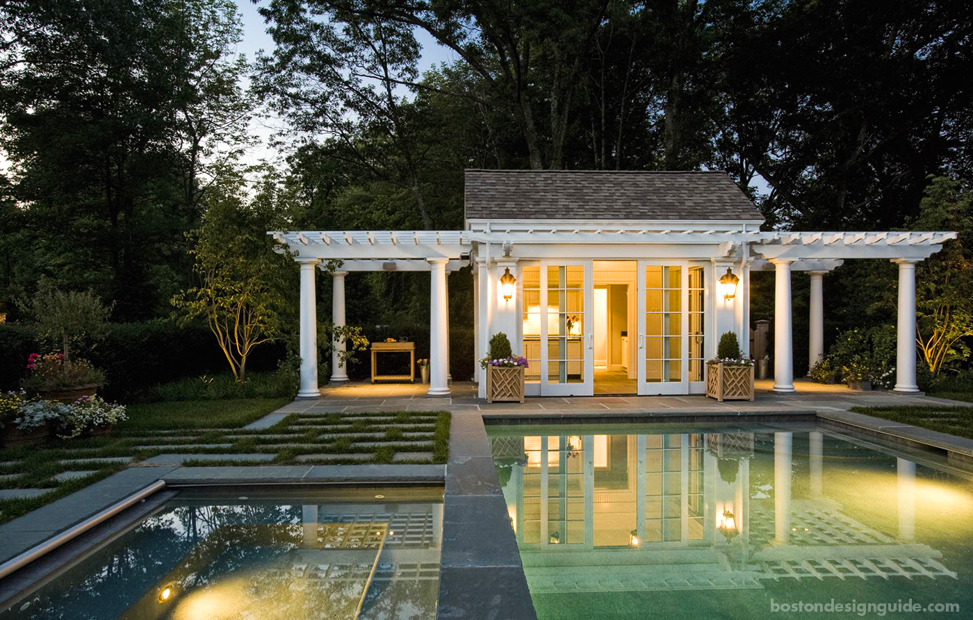 Pool terrace at dusk night designed by Dan Gordon Landscape Architects