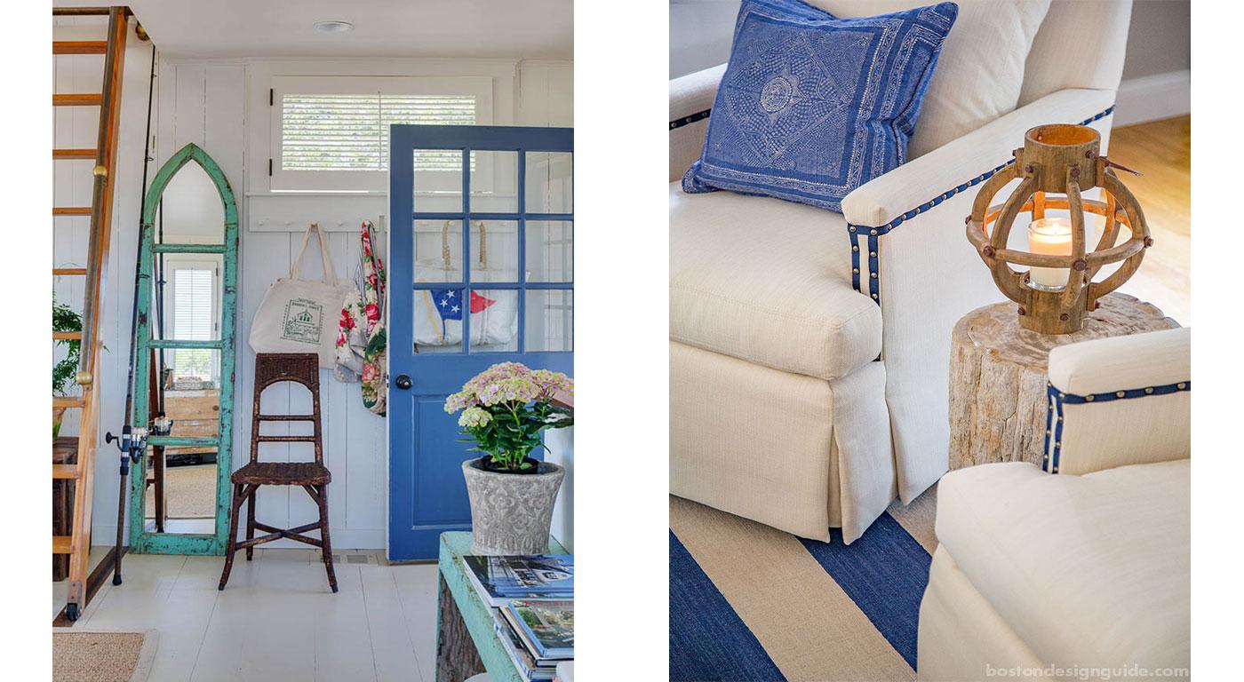 Coastal interior design using classic blue