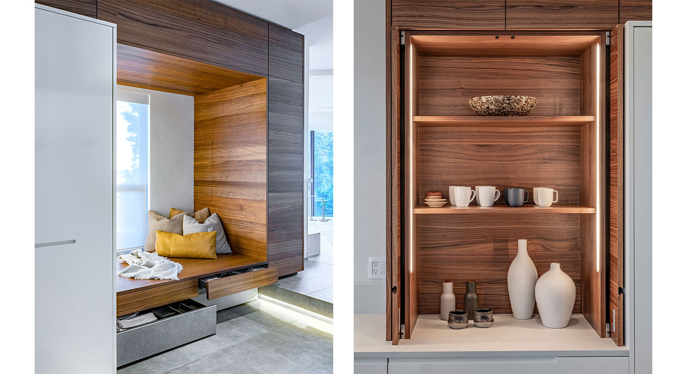 Sleek walnut kitchen cabinetry and nook by Divine Design Center