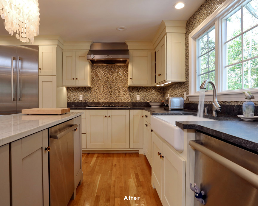 Cape cod home remodel provides better floor plan beach for Cape to colonial conversion plans