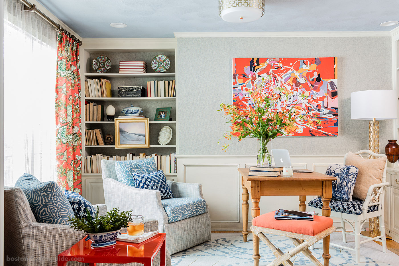Colorful home office by Eric Haydel Design