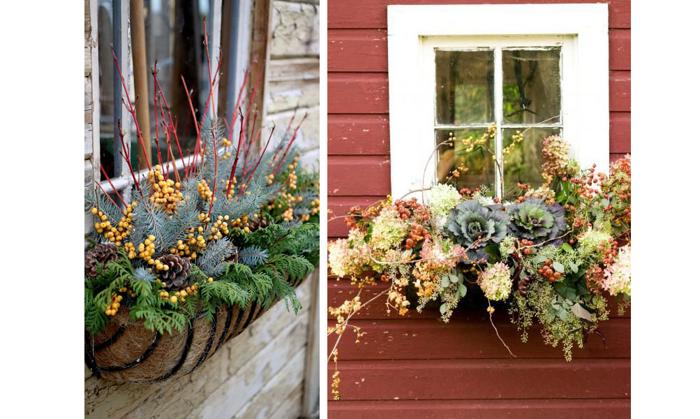 Window flower boxes for fall