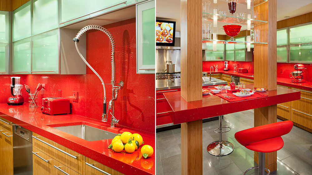red kitchens and bars