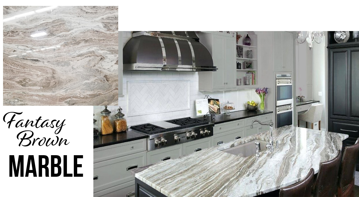 Fantasy Brown Marble installation by Onyx Marble & Granite