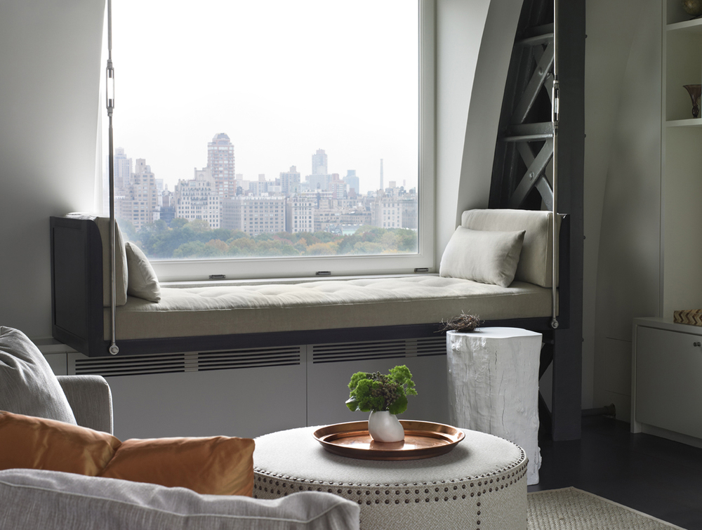 Window seat in NYC bedroom with a view of Central Park