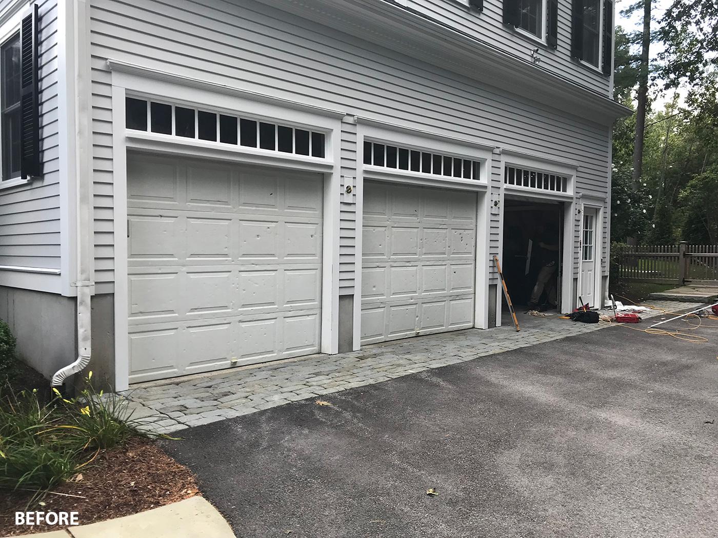 Garage door makeover, before