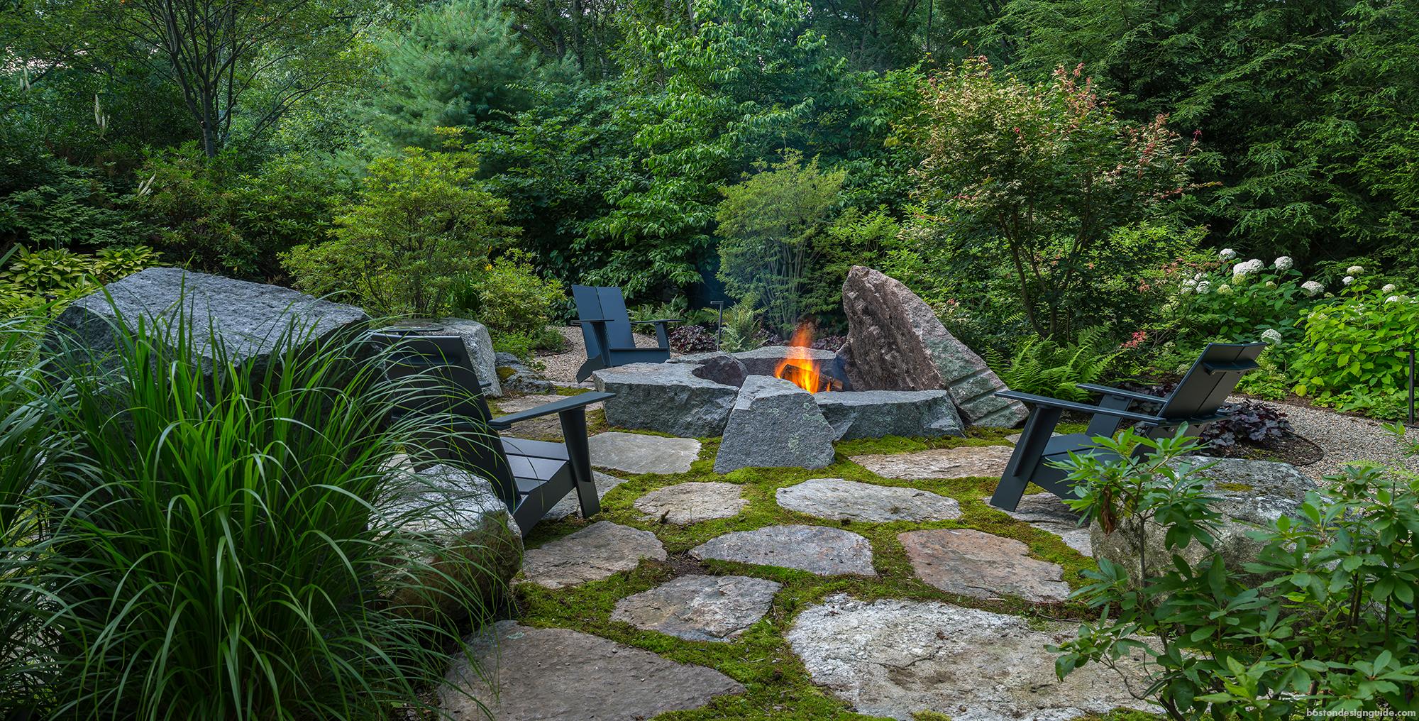 firepit landscape escape in Weston Massachusetts