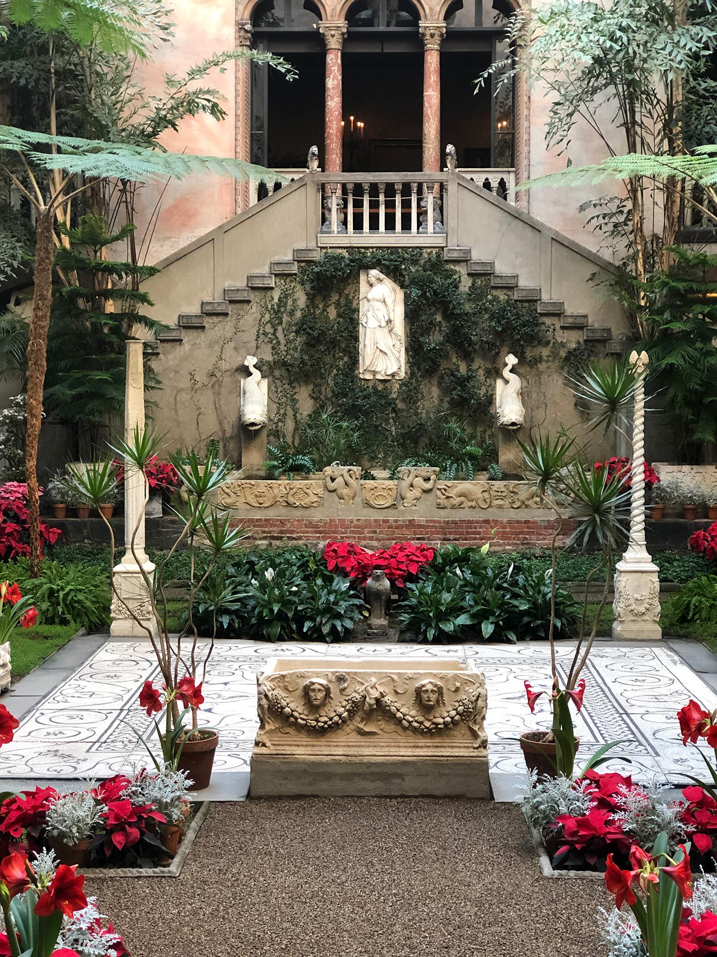 The garden courtyard of the Isabella Stewart Gardner Museum
