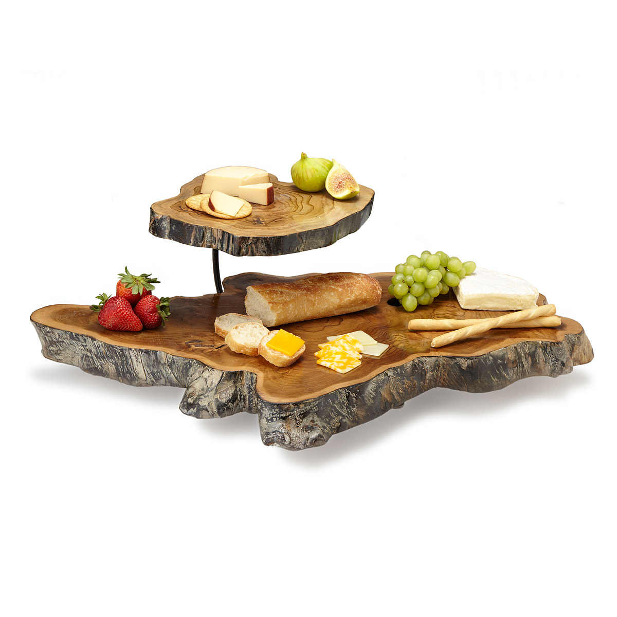 gifts uncommon goods double tiered teak root serving platter