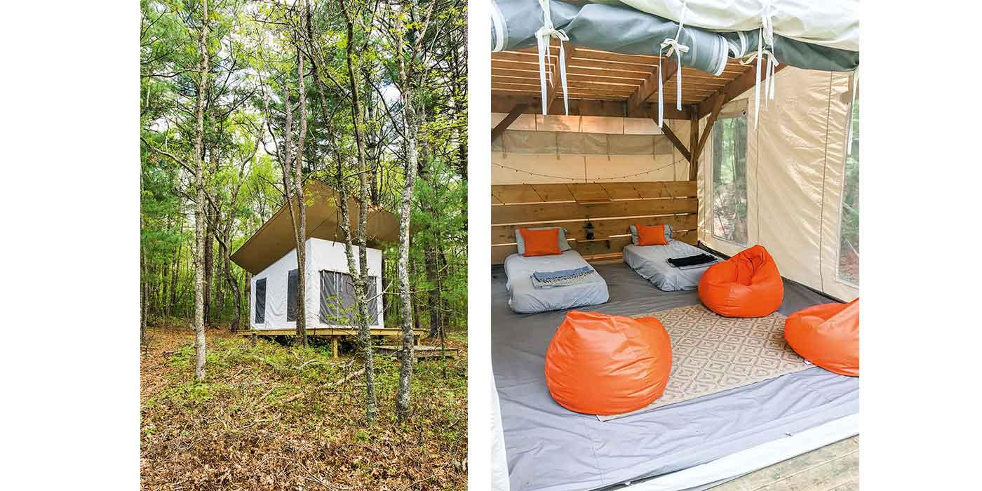 Glamp tents created by high-end Cape Cod architect Jill Neubauer
