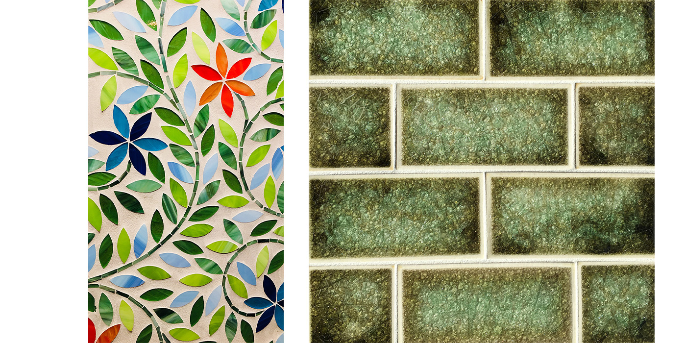 Green glitter subway tile, marble mosaic