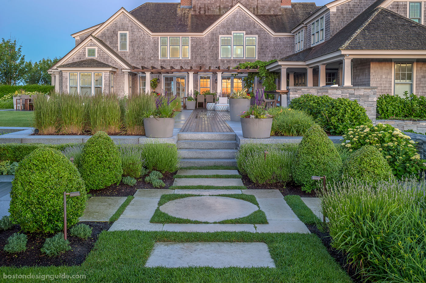 Walkway lined with plantings for a Nantucket home by Gregory Lombardi Design
