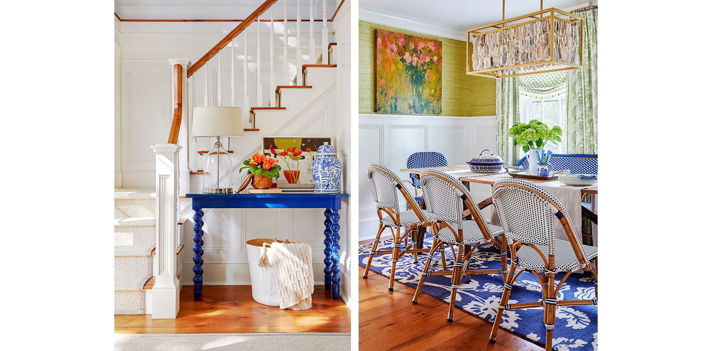 Colorful stair and dining room of a historic Nantucket home, designed by Donna Elle