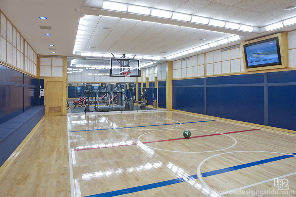 custom home gym and basketball court