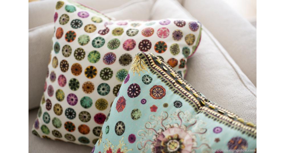 high end interior design new england floral pillows