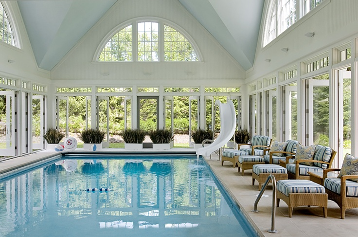 10 enviable indoor pools boston design guide for Luxury ranch house plans with indoor pool