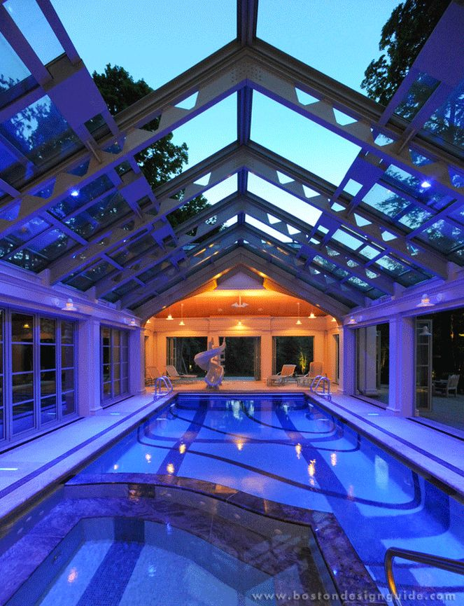 10 enviable indoor pools boston design guide for Indoor swimming pool construction