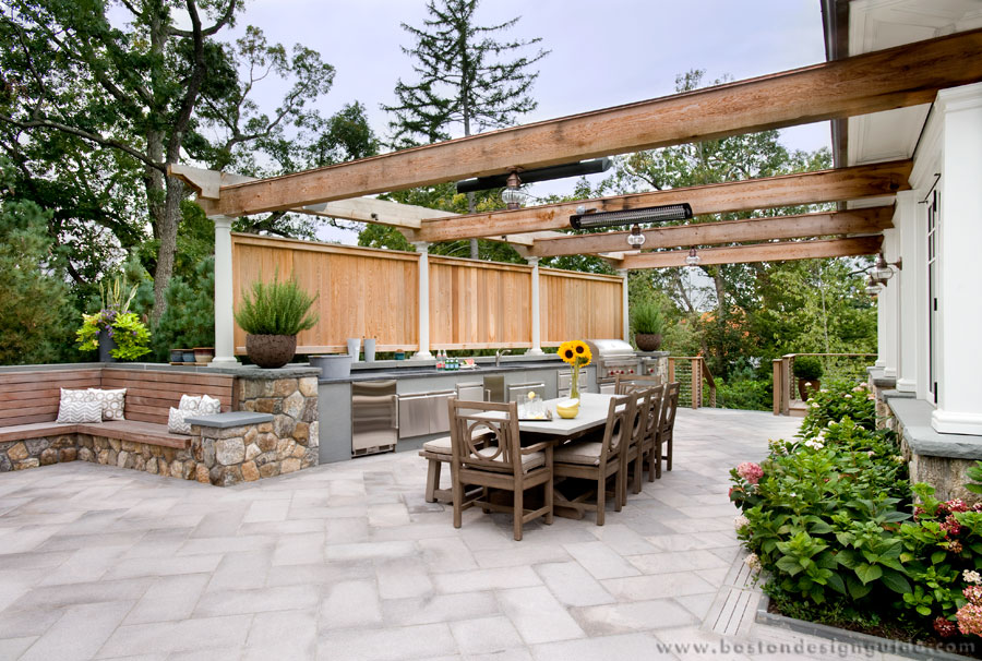 Outdoor kitchen with overhead heaters by JW Construction, Inc.