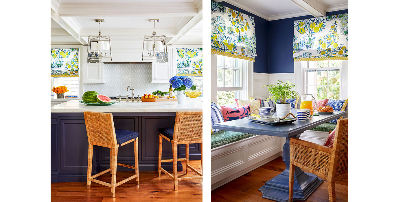 Colorful kitchen and breakfast nook in a Nantucket design project
