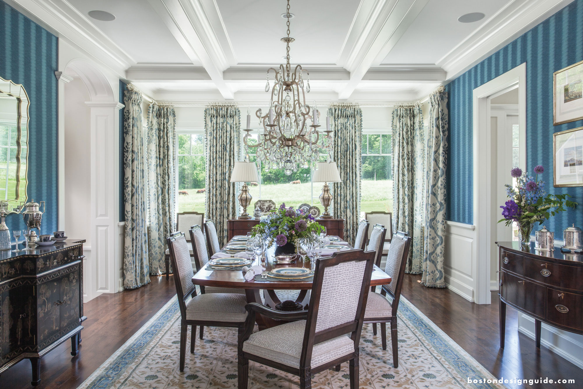 A lavish blue dining room design