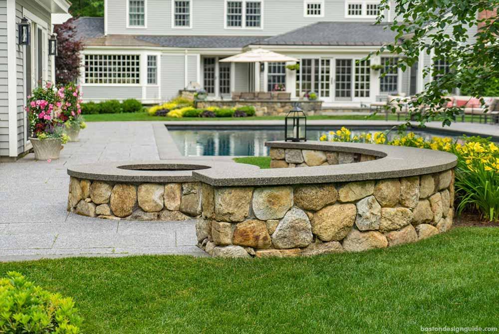firepit and pool landscape design