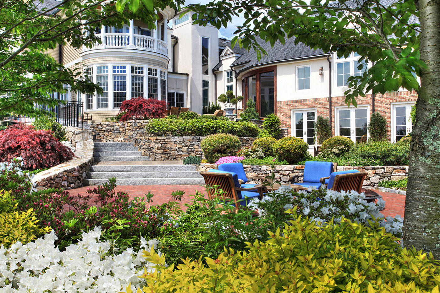 Multi-terrace landscape design by The MacDowell Company