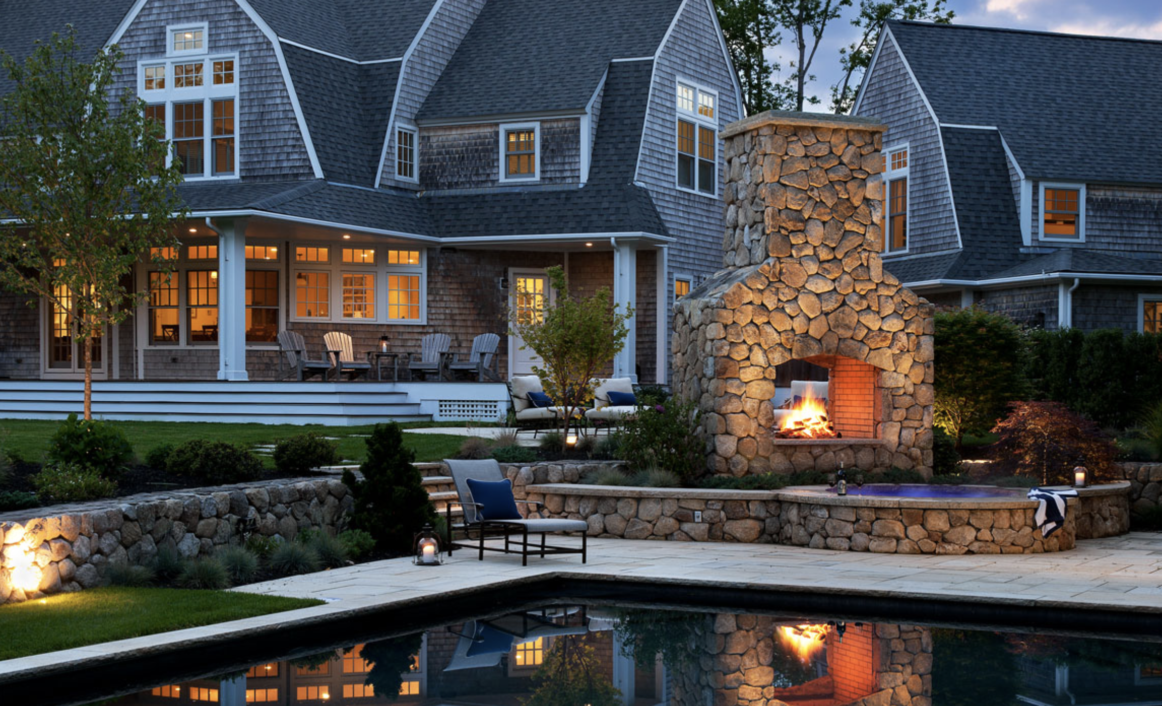 outdoor landscape fire pit and pool design