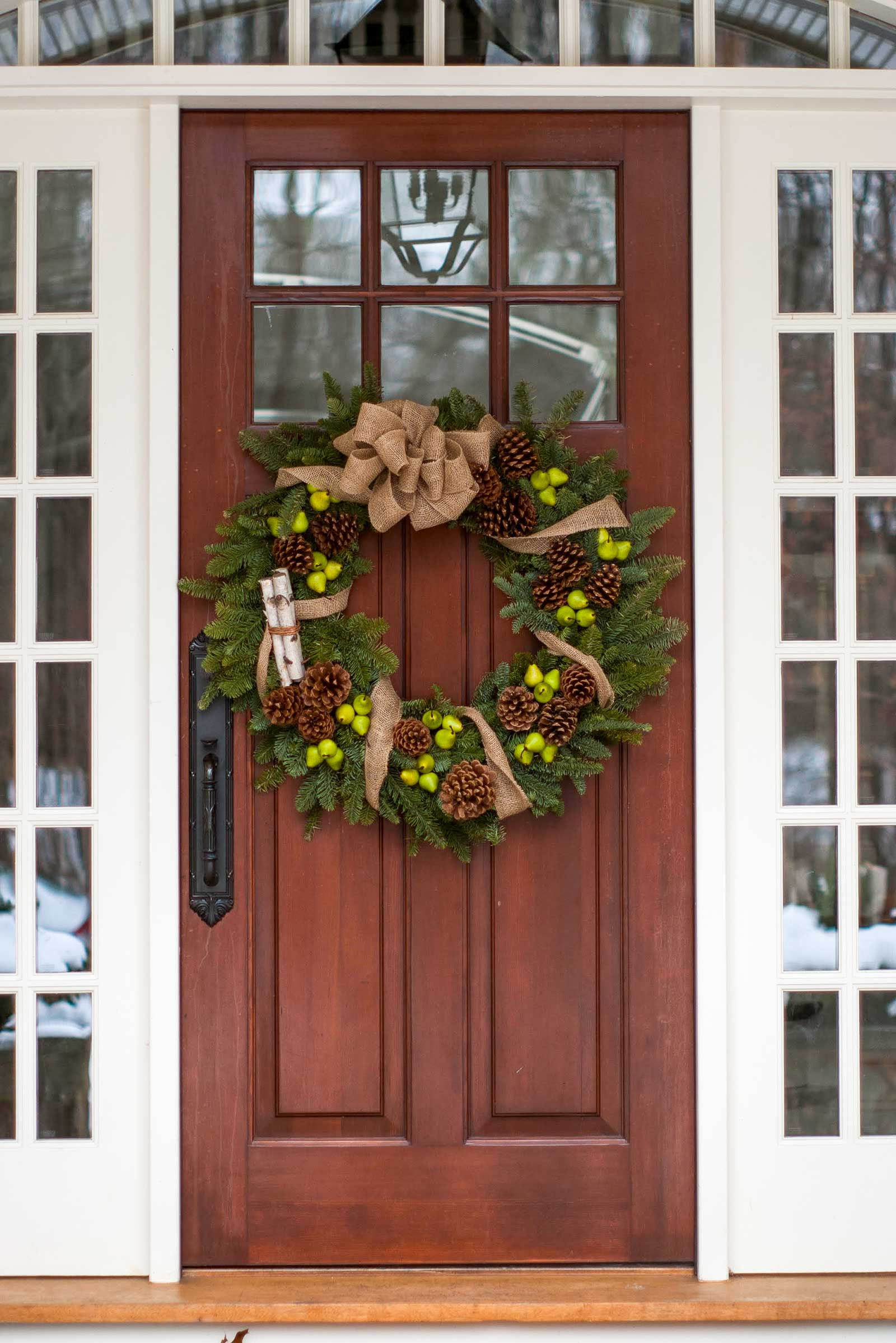 Front doors dressed for the holidays
