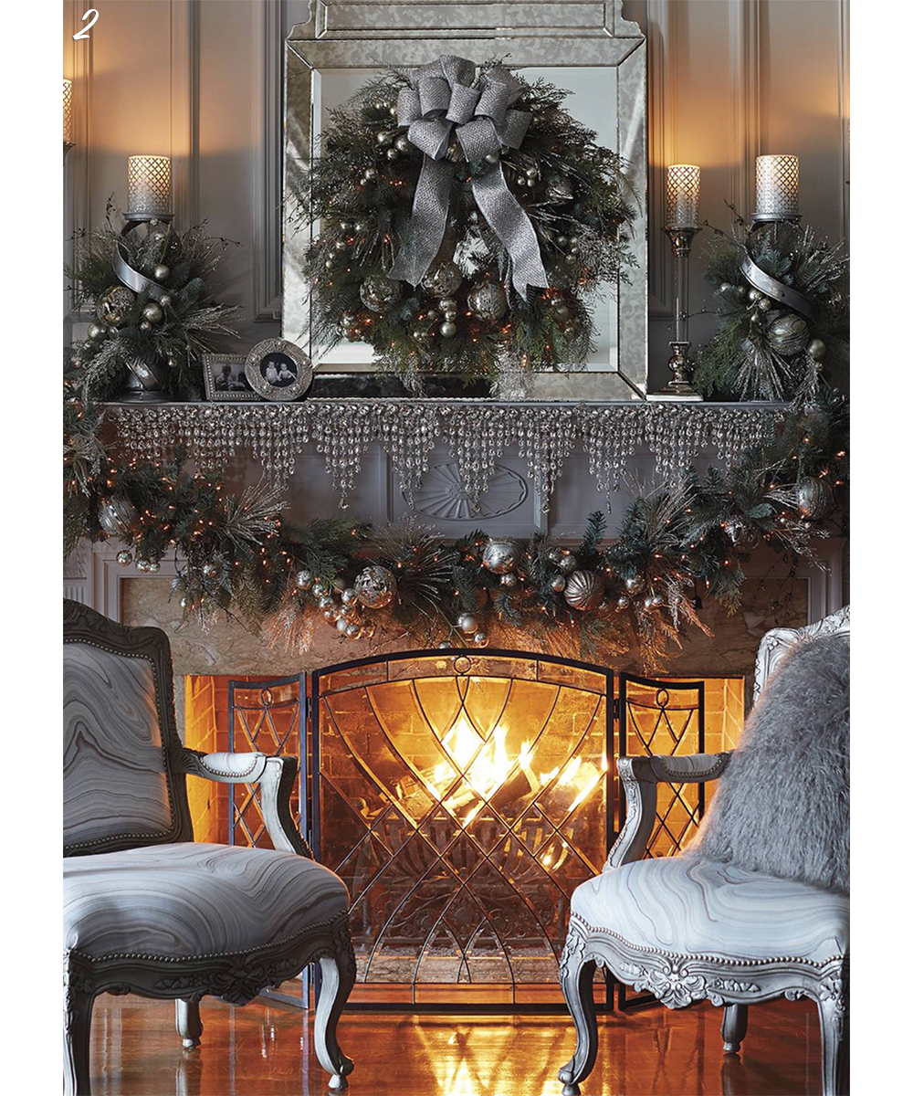 Fireplace mantel holiday decor