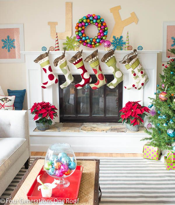 7 ways to decorate holiday mantles boston design guide for Colorful whimsical living room