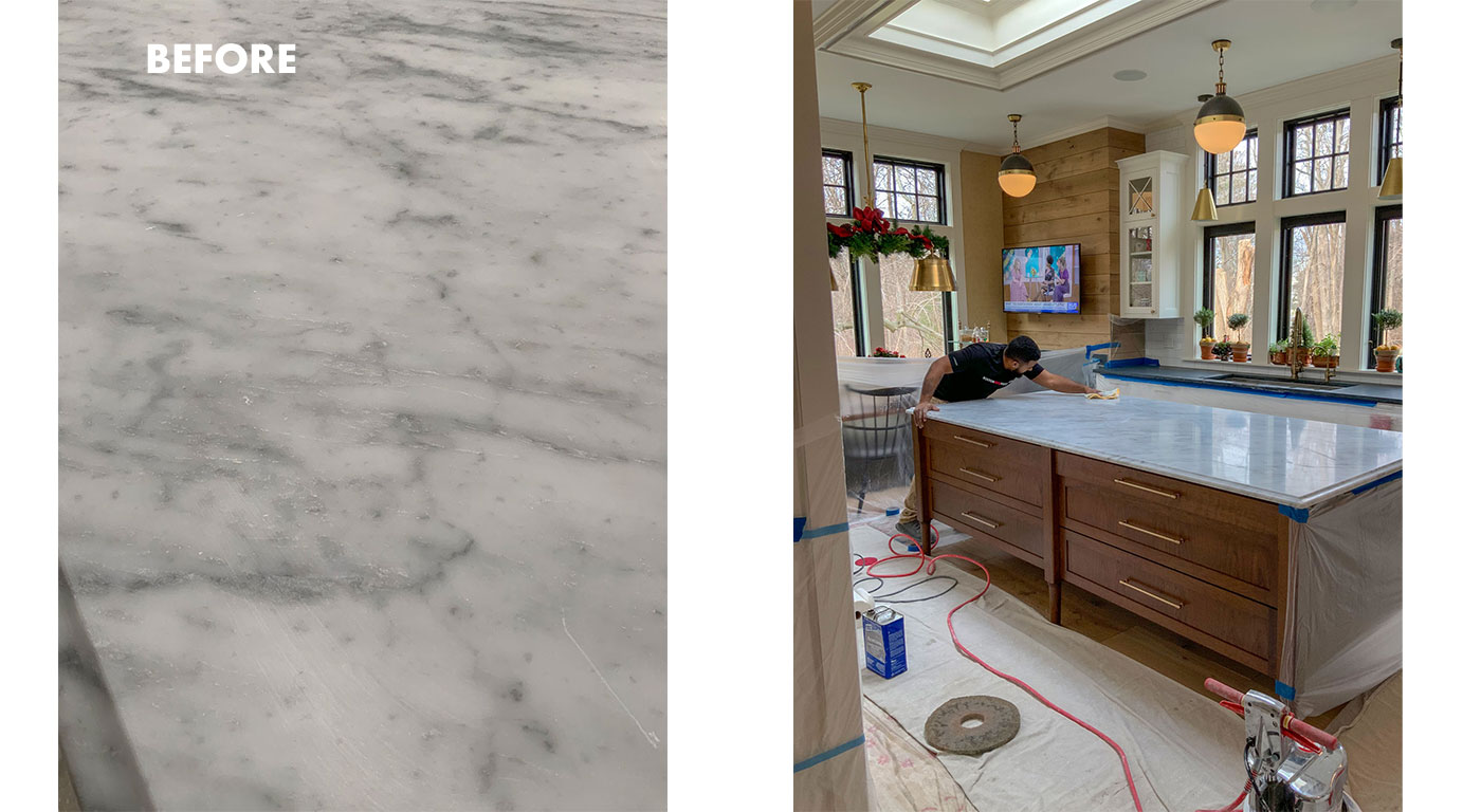 Scratch removal in a marble countertop by Boston Stone Restoration