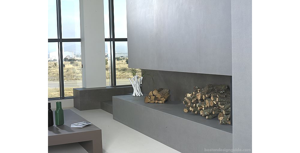 Neolith cement fireplace