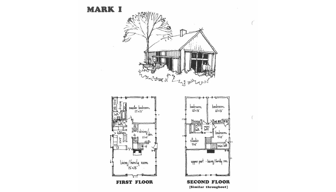 Yankee Barn Homes' plan for the first model, The Mark 1