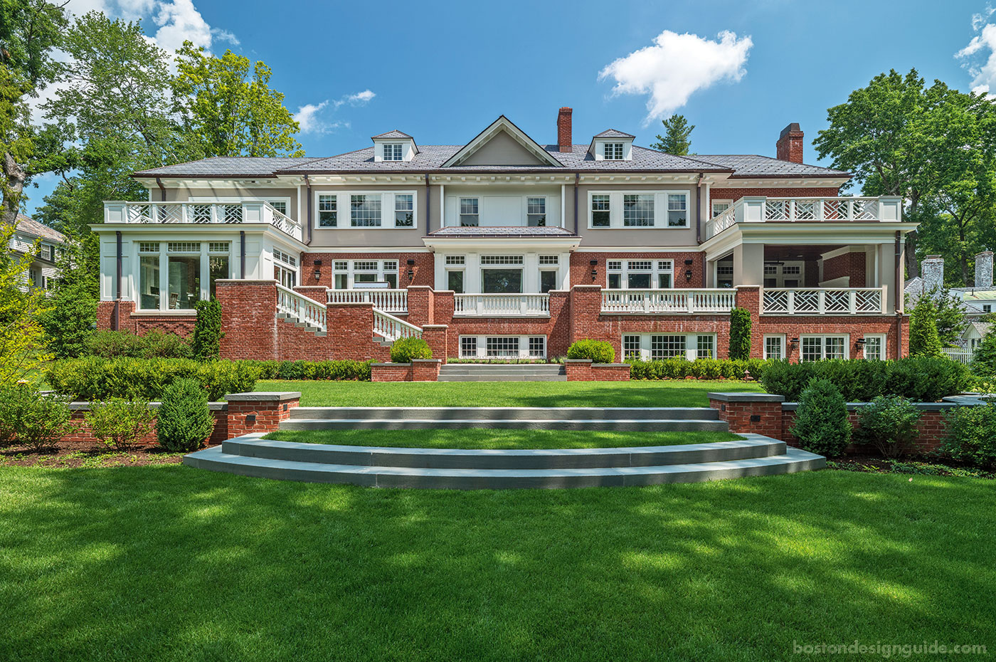 Custom new construction and landscape design in Wellesley