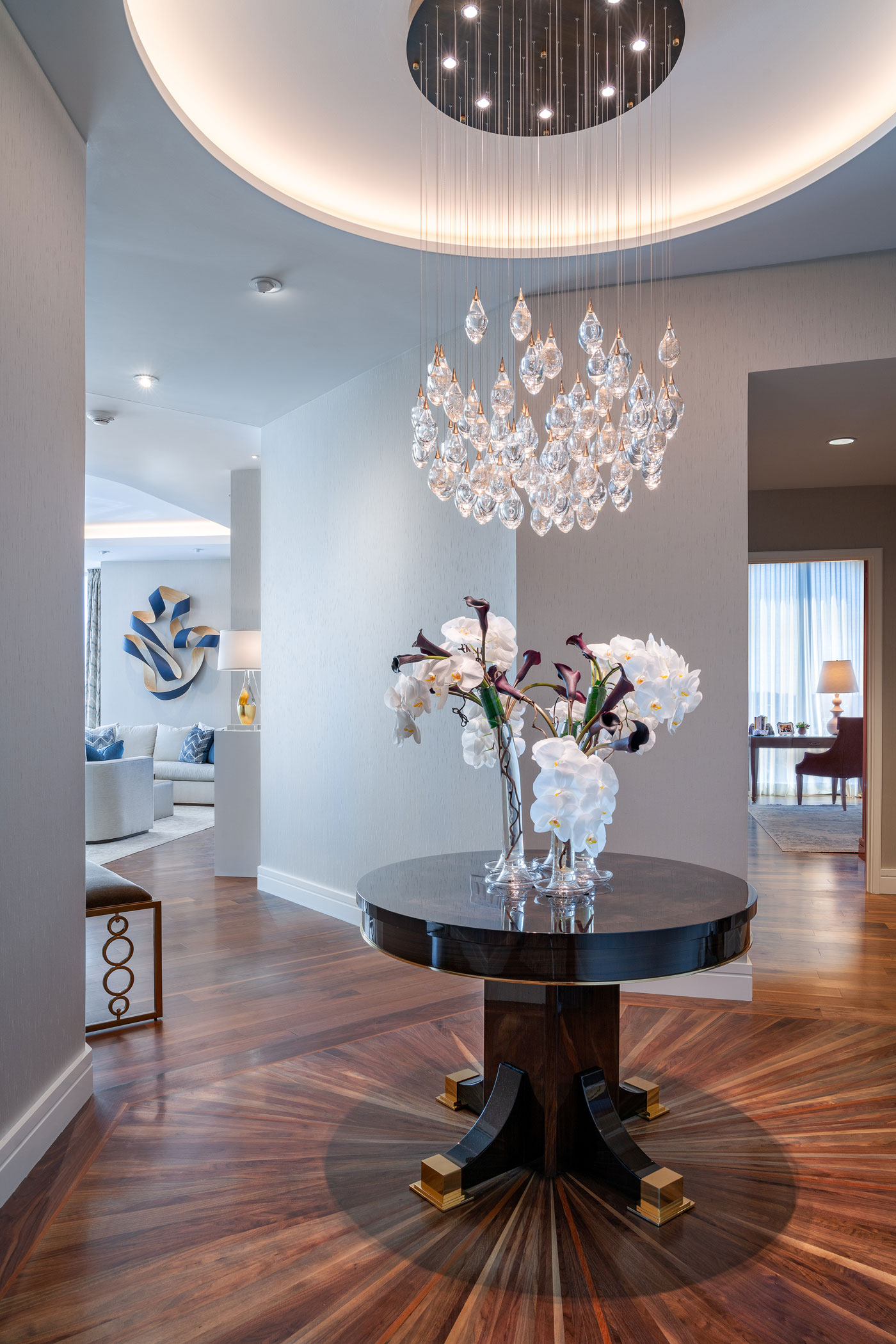 The breathtaking foyer of a new residence in One Dalton, Four Seasons Hotel and Private Residences designed by Carter & Company