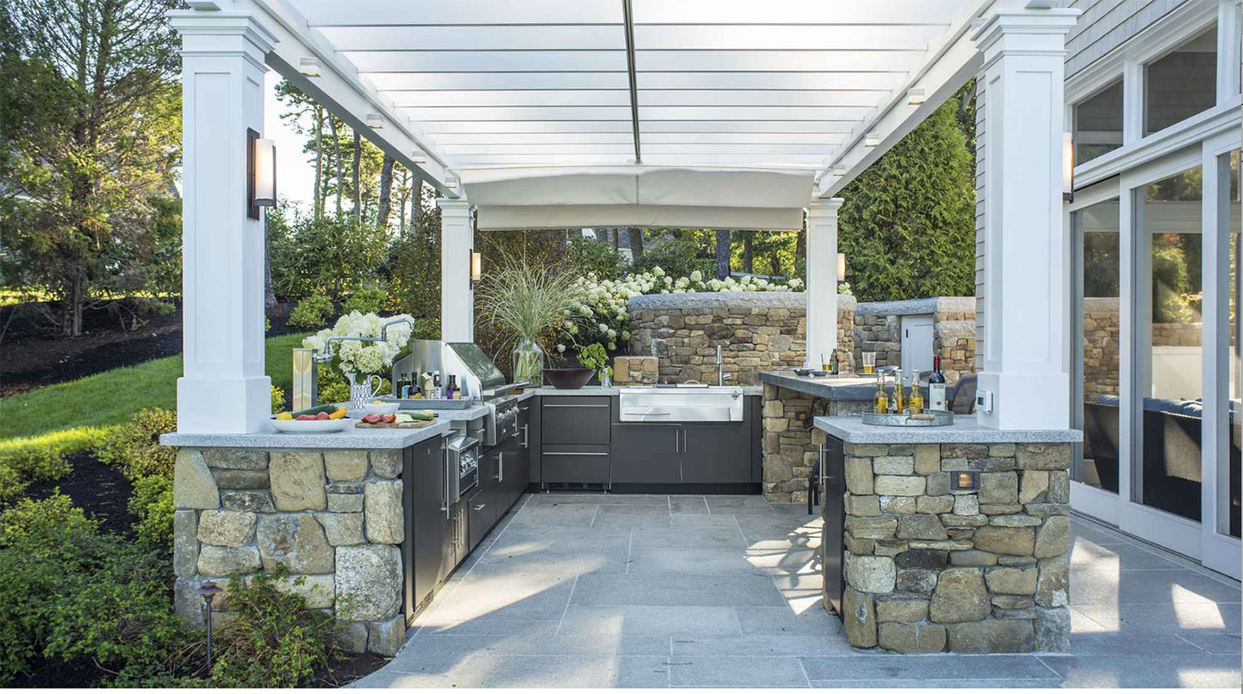 High-end Cape Cod outdoor kitchen by landscape architect Sudbury Design Group