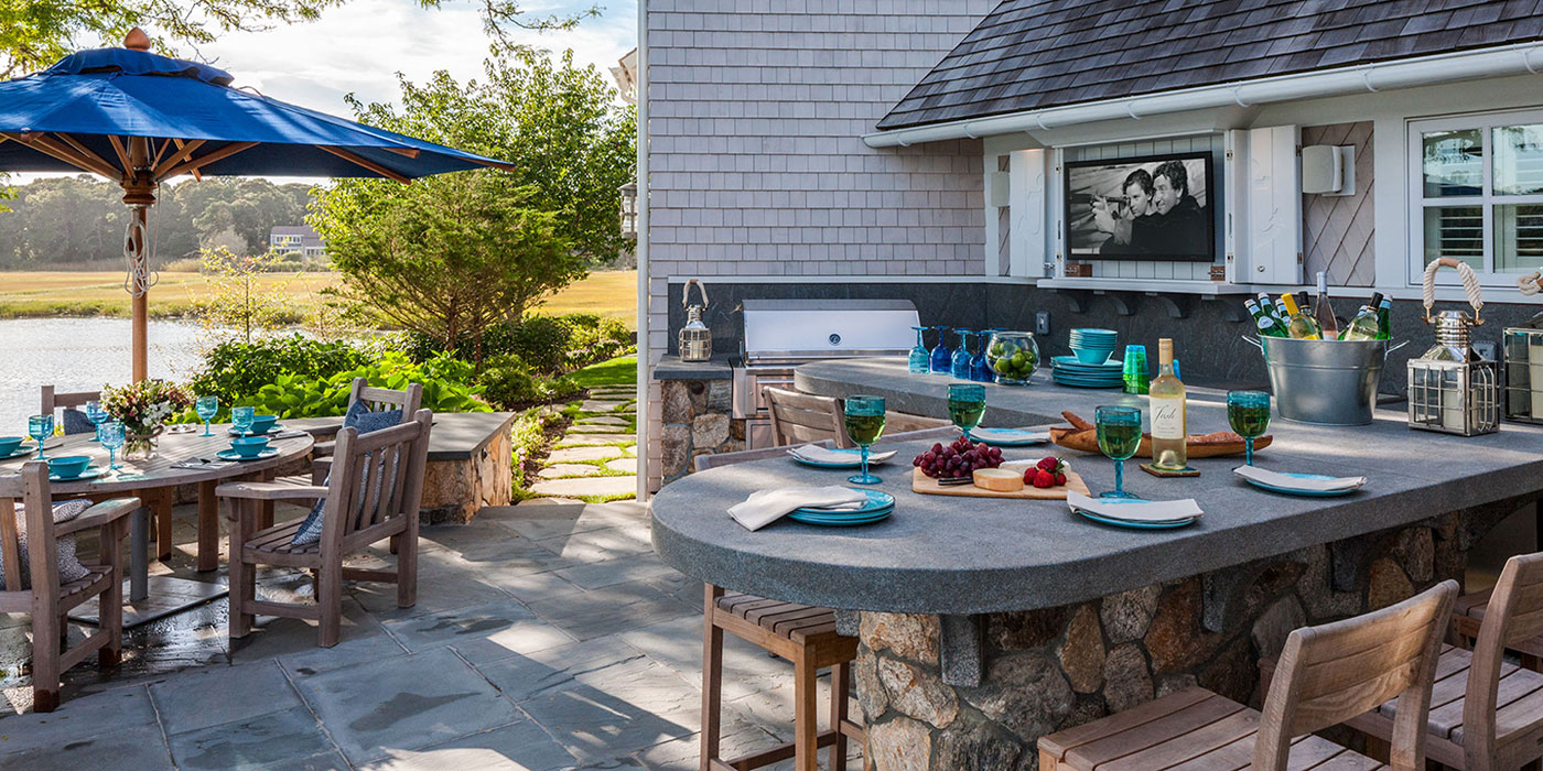 Outdoor kitchen design and tips by Cape Cod design build company Polhemus Savery DaSilva