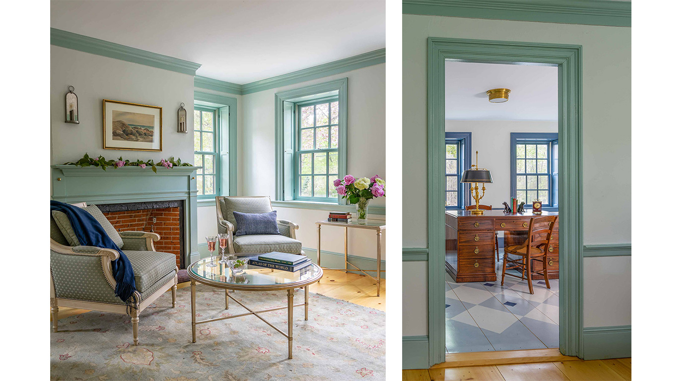 Authentic painted trim and stencil work grace a historic renovation by Cummings Architects