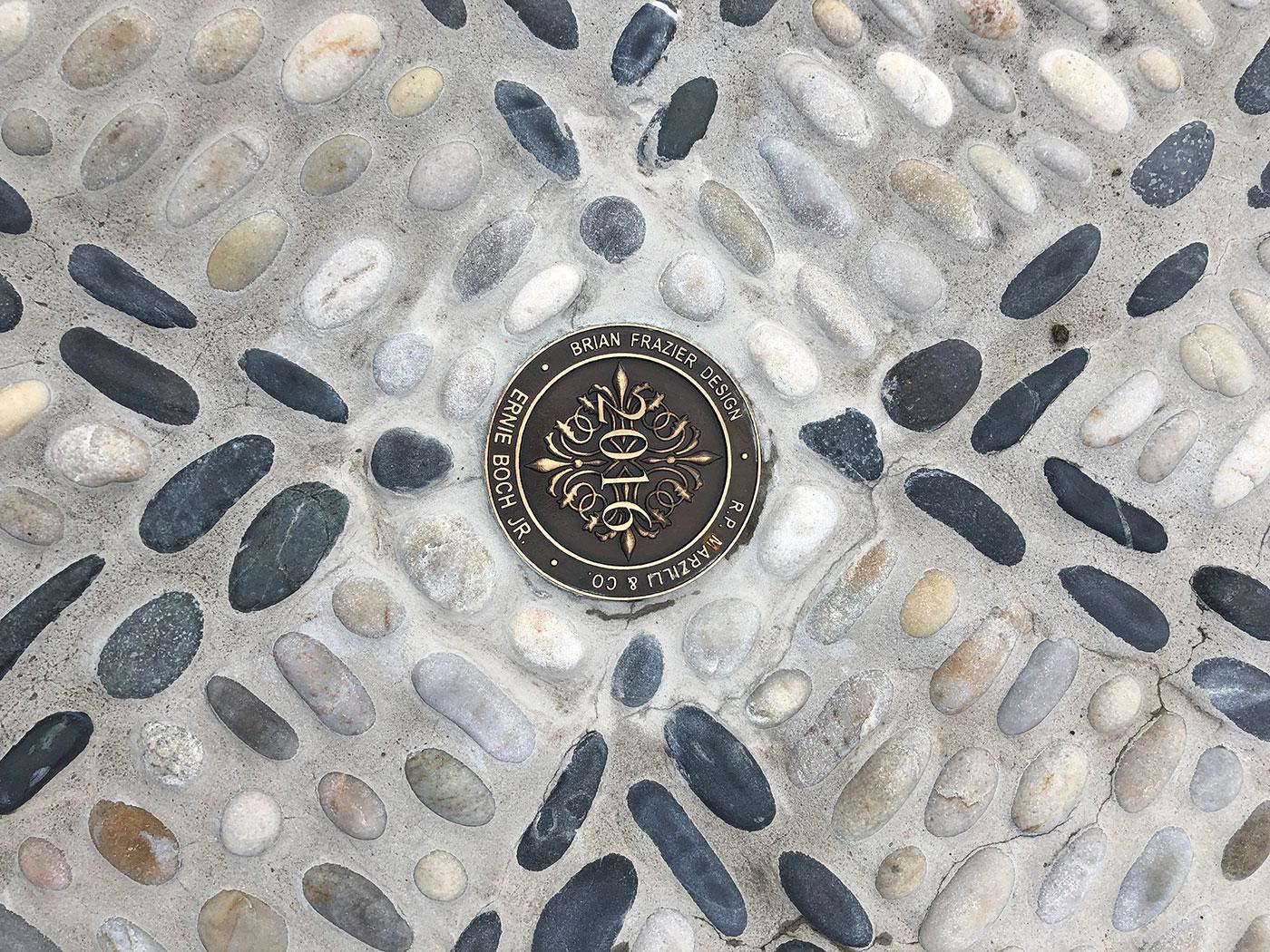 Engraved plaque on Ernie Boch Jr.'s Pebble Terrace