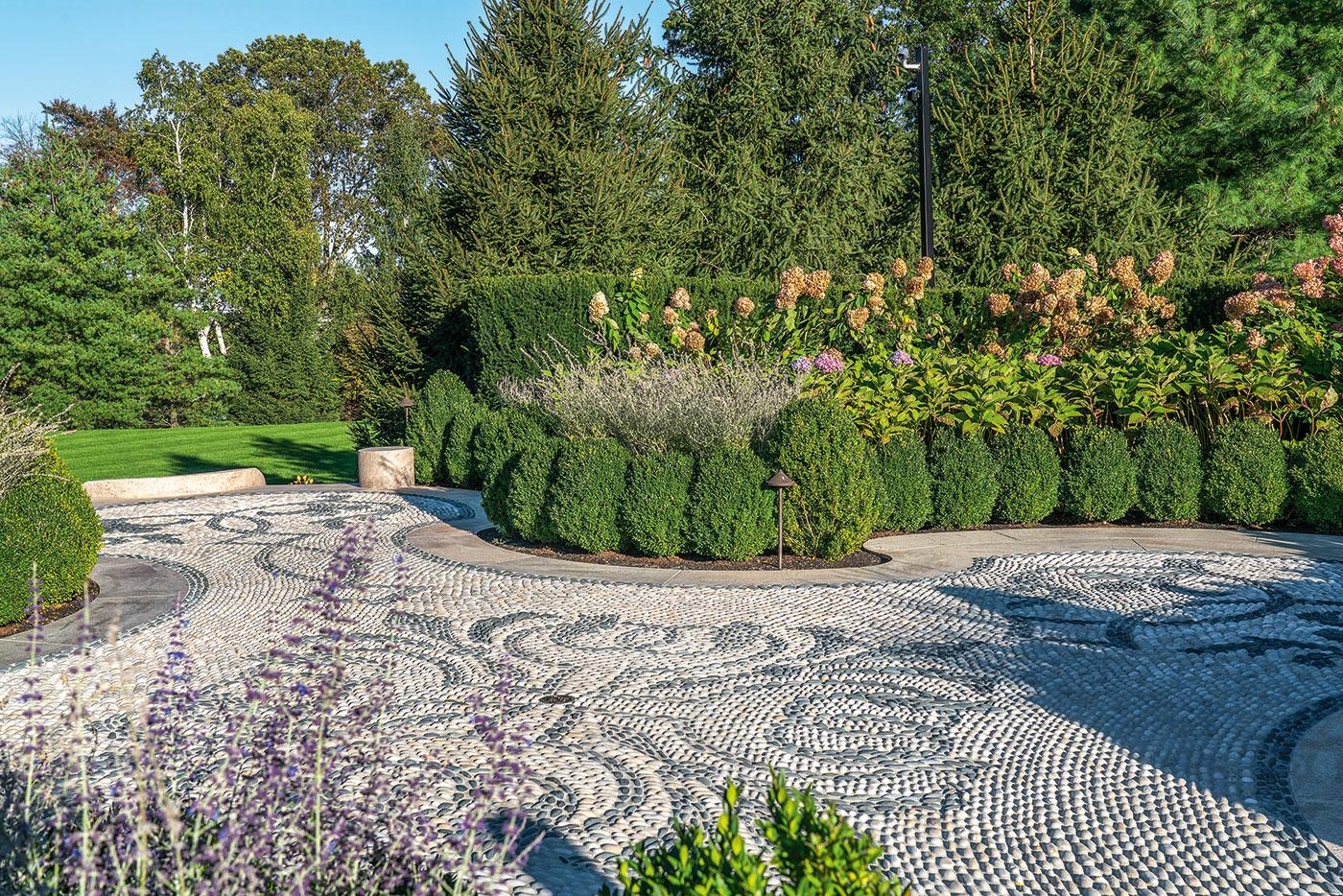 Pebble terrace on Ernie Boch Jr.'s garden pavilion