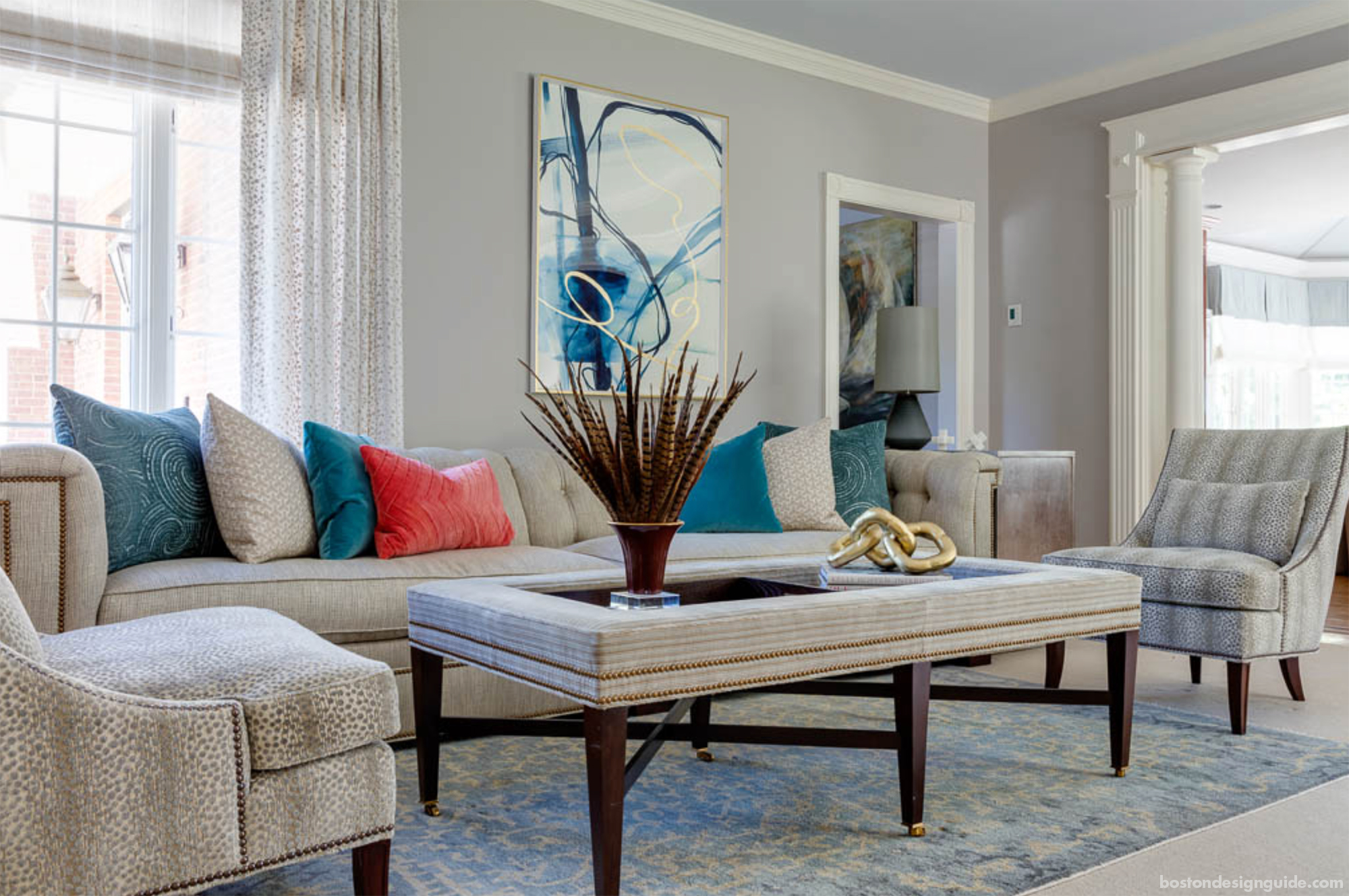 Transitional rugs and furniture pairings