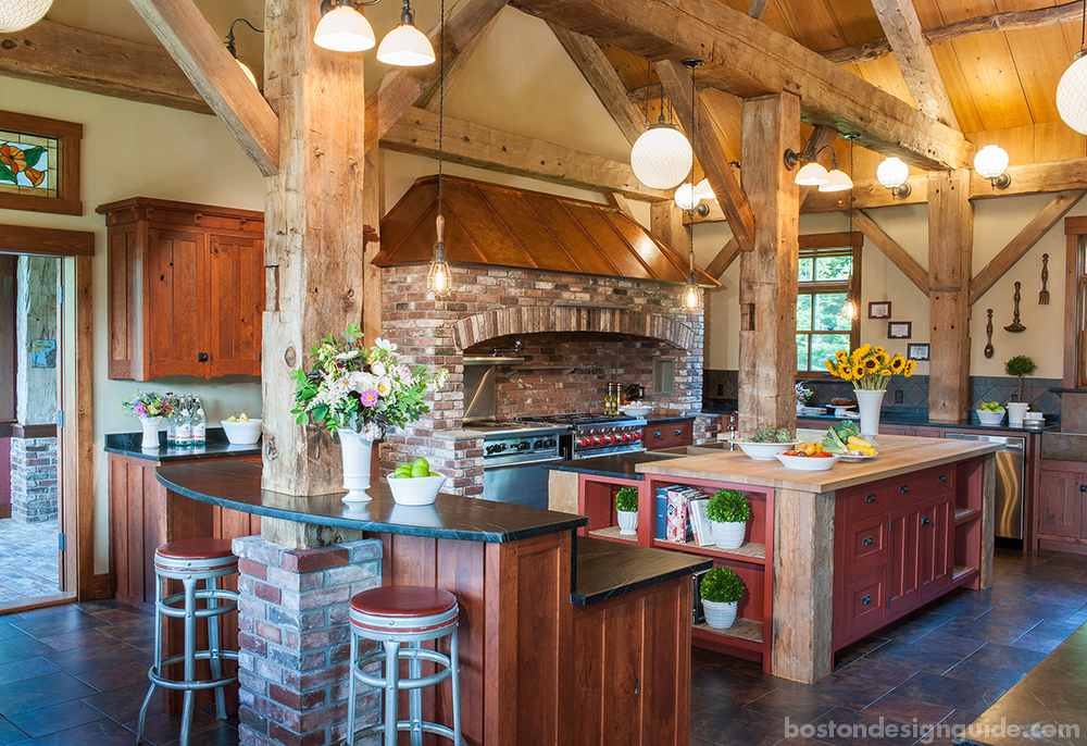 eclectic kitchens with wooden beams