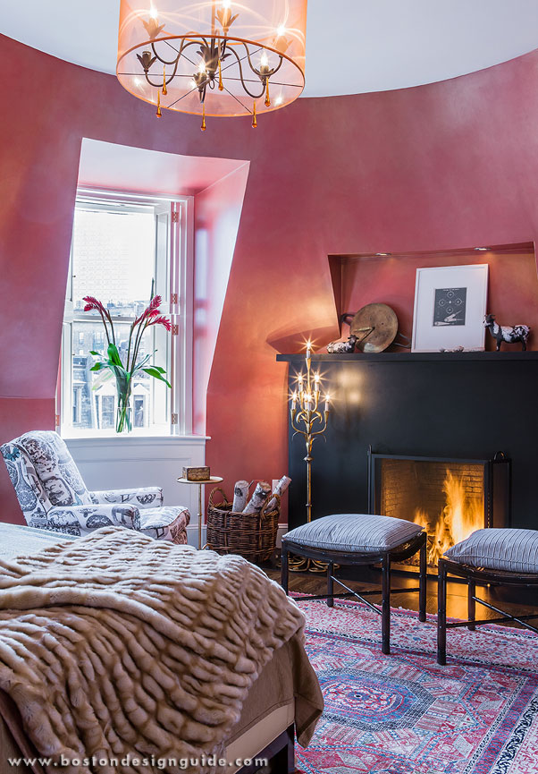 Red bedroom in a historic renovation by S+H Construction