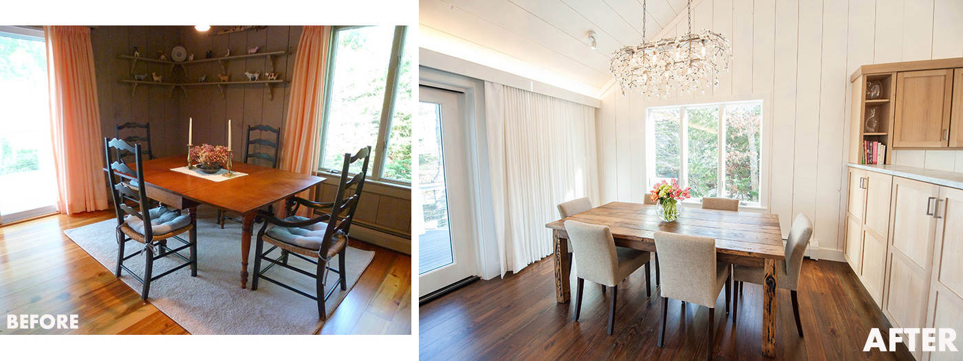 Before and after dining room renovation for a custom Cape Cod home