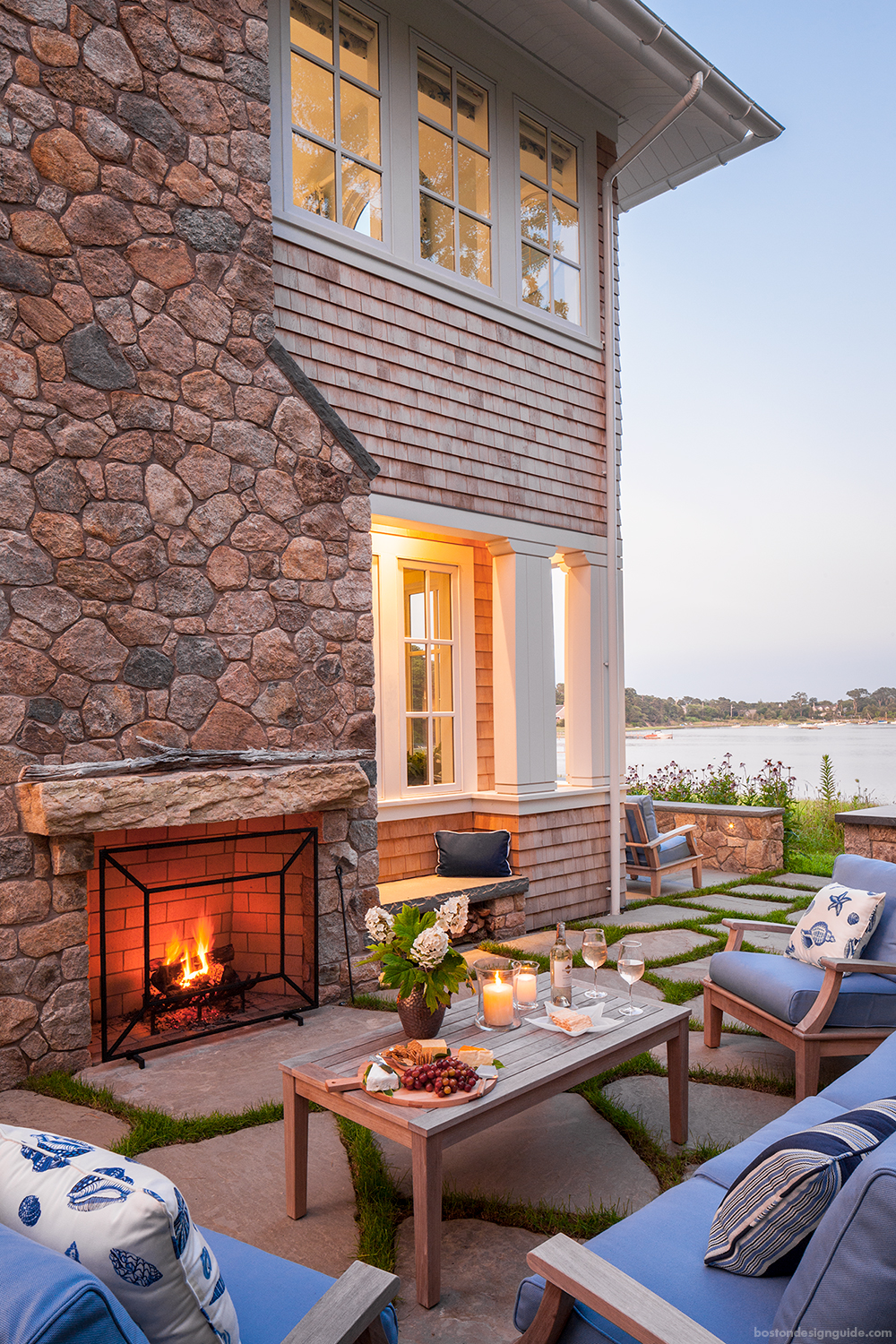 New England Waterfront Living Patio Area